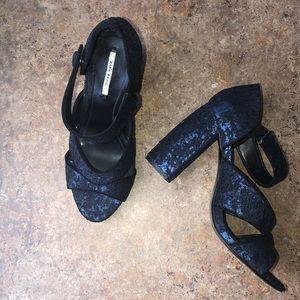 Zara Block Tapestry Heels